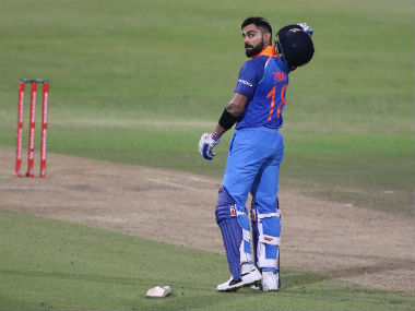 Indian captain Virat Kohli celebrates his century during the first ODI against South Africa in Durban. AFP