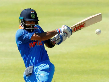 Indian captain Virat Kohli plays a shot during his innings of 160* in the 3rd ODI of the series at Cape Town.