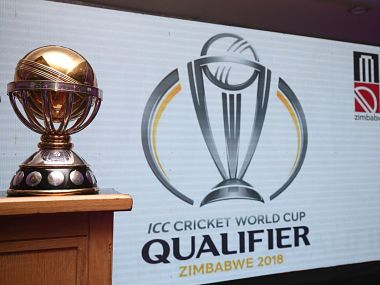 The trophy for which the ten teams will compete for in the World Cup Qualifiers. Image courtesy: Twitter @ICCMediaComms