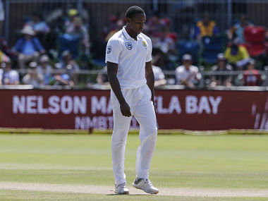 South Africa bowler Kagiso Rabada reacts during day three of the second Test cricket match between South Africa and Australia at St George's Park in Port Elizabeth on March 11, 2018. / AFP PHOTO / MARCO LONGARI