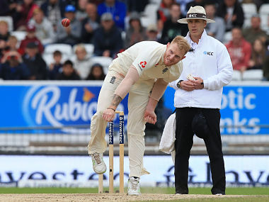 England's Ben Stokes bowls on the fifth and final day of the second international Test match between England and the West Indies at Headingley cricket ground in Leeds, northern England, August 29, 2017. / AFP PHOTO / Lindsey Parnaby / RESTRICTED TO EDITORIAL USE. NO ASSOCIATION WITH DIRECT COMPETITOR OF SPONSOR, PARTNER, OR SUPPLIER OF THE ECB