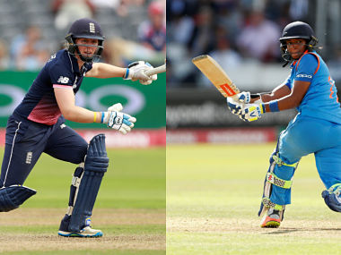 Heather Knight, Harmanpreet Kaur. Reuters