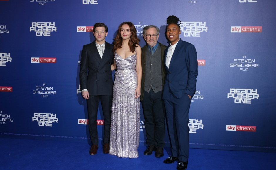 Steven Spielberg Olivia Cooke Tye Sheridan arrive at the London premiere of Ready Player One