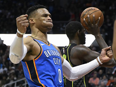 NBA Russell Westbrook nets 100th career tripledouble as Thunder close in on playoff berth Spurs beat Magic