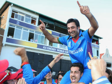 Afghanistan captain Asghar Stanikzai celebrates with his team after making it to next year's cricket World Cup. Image Courtesy: Twitter @ICC