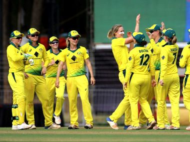 Australia women's team celebrate after beating India in the 3-match series. Twitter/@SouthernStars