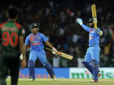 Dinesh Karthik's 8-ball 29 guided India to victory in the finl of Nidahas Trophy last month. AP
