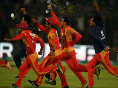 Islamabad United players celebrate after winning the title for the second time. AFP
