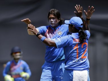 India's Jhulan Goswami, celebrates after taking Australia's Beth Mooney's wicket. AP