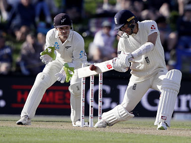England's Mark Wood plays a shot on the first day of the second Test against England. AP