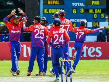 Nepal cricket team celebrate after their win over Papua New Guinea. Image courtesy: Twitter ICC