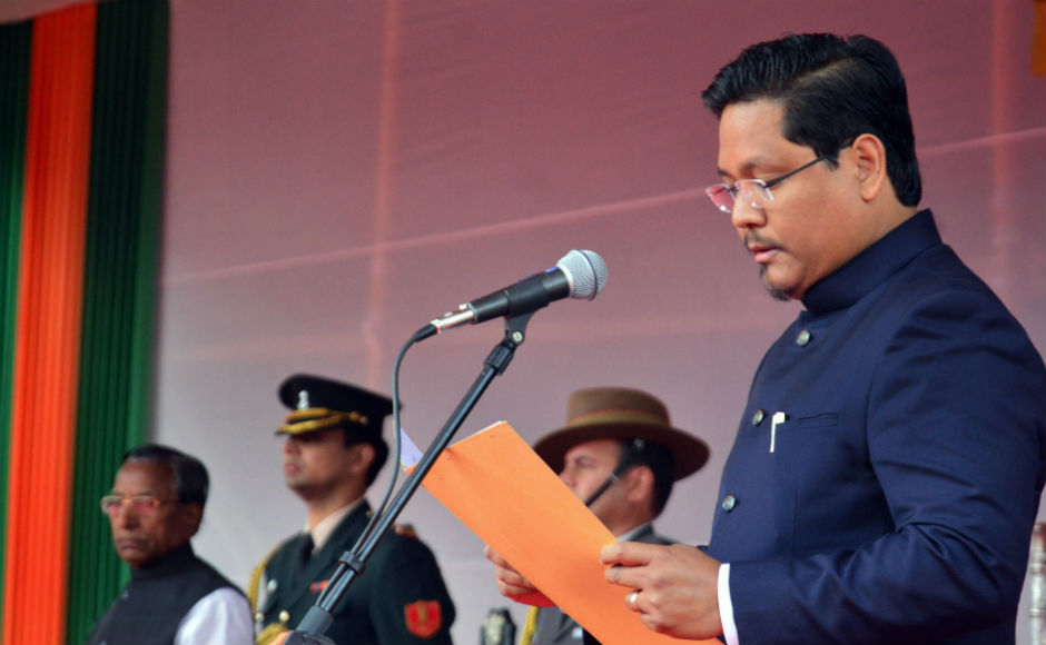 Conrad Sangma takes oath as 12th Chief Minister of Meghalaya; Rajnath Singh, Amit Shah attend event