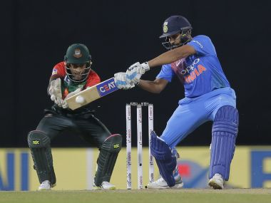 India's Rohit Sharma plays a shot against Bangladesh during their second T20I in the Nidahas Trophy. AP