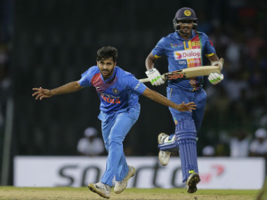 Shardul Thakur collected his career-best T20I haul of 4/27 to restrict Sri Lanka to 152/9. AP