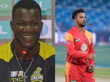 Peshawar Zalmi skipper Darren Sammy and Islamabad United stand-in skipper JP Duminy.