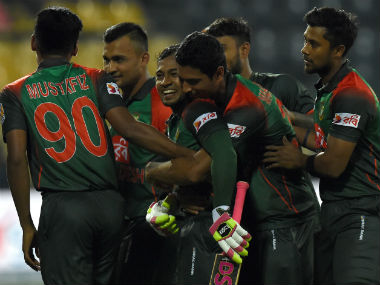 Bangladesh players celebrate their victory over Sri Lanka in the third T20I of the Nidahas Trophy in Colombo. AFP