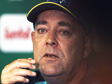 Australia's coach Darren Lehmann, reacts as he speaks, during a media conference in Johannesburg. AP