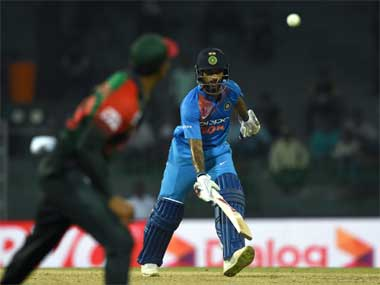 Action in the first-leg match between India and Bangladesh in Nidahas Trophy 2018. AFP
