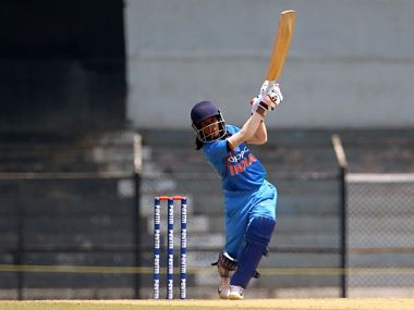 India's Jemimah Rodrigues in action in the match against Australia. Image Courtesy: Twitter @BCCIWomen