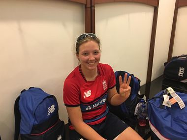 Katie George took a hat-trick in the warm-up game. Image Courtesy: Twitter @Englandcricket