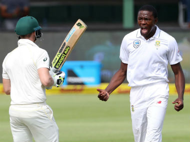 South Africa pacer Kagiso Rabada reacts after getting the wicket of Australian captain Steve Smith in the 2nd Test of the series in Port Elizabeth. Reuters