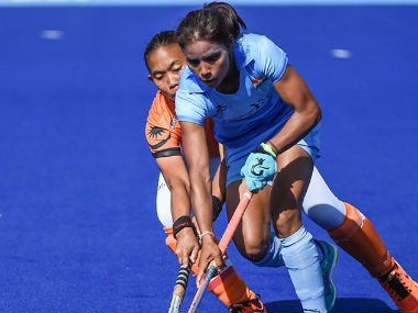 Indian women's hockey team in action against Malaysia. Image Courtesy: Twitter @TheHockeyIndia