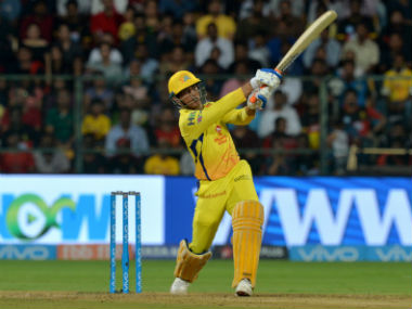 Chennai Super Kings' MS Dhoni plays a shot during the match against Royal Challengers Bangalore. AFP