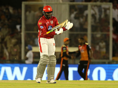 Chris Gayle's 63-ball 104 paved the way for Kings XI Punjab's 15-run victory against Sunrisers Hyderabad. Sportzpics
