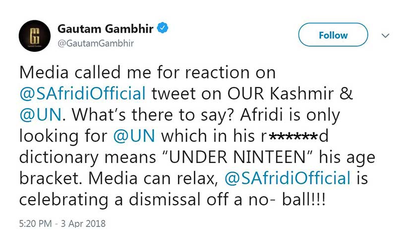 Shahid Afridi makes twit of himself with Twitter rant on Kashmir Gautam Gambhir shows bad form in response