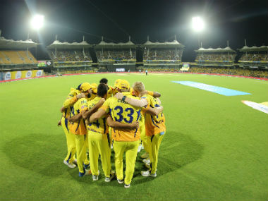 CSK team members in a huddle during their IPL 2018 match against KKR at the Chepauk Stadium. Sportzpics