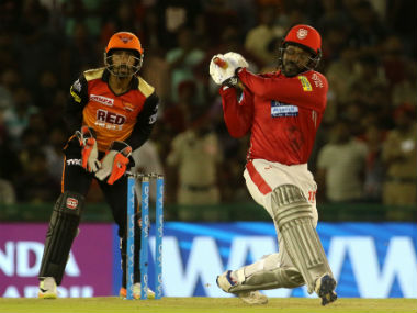 KXIP's Chris Gayle in IPL 2018 action against SRH in Mohali. Sportzpics