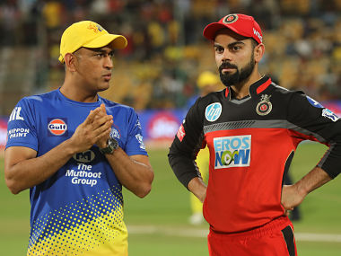 Virat Kohli captain of the Royal Challengers Bangalore and MS Dhoni captain of the Chennai Superkings during match twenty four of the Vivo Indian Premier League 2018 (IPL 2018) between the Royal Challengers Bangalore and the Chennai Super Kings held at the M. Chinnaswamy Stadium in Bangalore on the 24th April 2018. Photo by: Sandeep Shetty /SPORTZPICS for BCCI