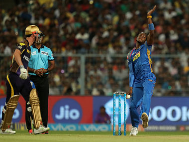 Jofra Archer of Rajasthan Royals during match forty nine of the Vivo Indian Premier League 2018 (IPL 2018) between the Kolkata Knightriders and the Rajasthan Royals held at the Eden Gardens Cricket Stadium in Kolkata on the 15th May 2018. Photo by: Prashant Bhoot /SPORTZPICS for BCCI