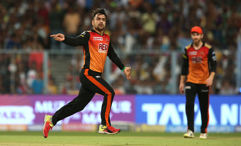 Rashid Khan of the Sunrisers Hyderabad celebrates after taking the wicket of Robin Uthappa of the Kolkata KnightRiders during the Vivo Indian Premier League 2018 (IPL 2018) qualifier 2 match between the Sunrisers Hyderabad and the Kolkata Knight Riders held at the Eden Gardens Cricket Stadium in Kolkata on the 25th May 2018. Photo by: Deepak Malik /SPORTZPICS for BCCI