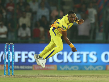 Dwayne Bravo of the Chennai Super kings bowls a delivery during match fifty two of the Vivo Indian Premier League 2018 (IPL 2018) between the Delhi Daredevils and the Chennai Super Kings held at the Feroz Shah Kotla Ground, Delhi on the 18th May 2018. Photo by: Deepak Malik /SPORTZPICS for BCCI
