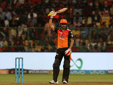 Manish Pandey of the Sunrisers Hyderabad celebrates his fifty during match fifty one of the Vivo Indian Premier League 2018 (IPL 2018) between the Royal Challengers Bangalore and the Sunrisers Hyderabad held at the M. Chinnaswamy Stadium in Bangalore on the 17th May 2018. Photo by: Faheem Hussain /SPORTZPICS for BCCI