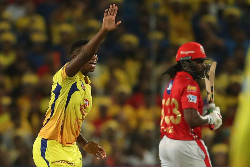 Lungisani Ngidi of the Chennai Super kings appeals for the wicket of Chris Gayle. Sportzpics