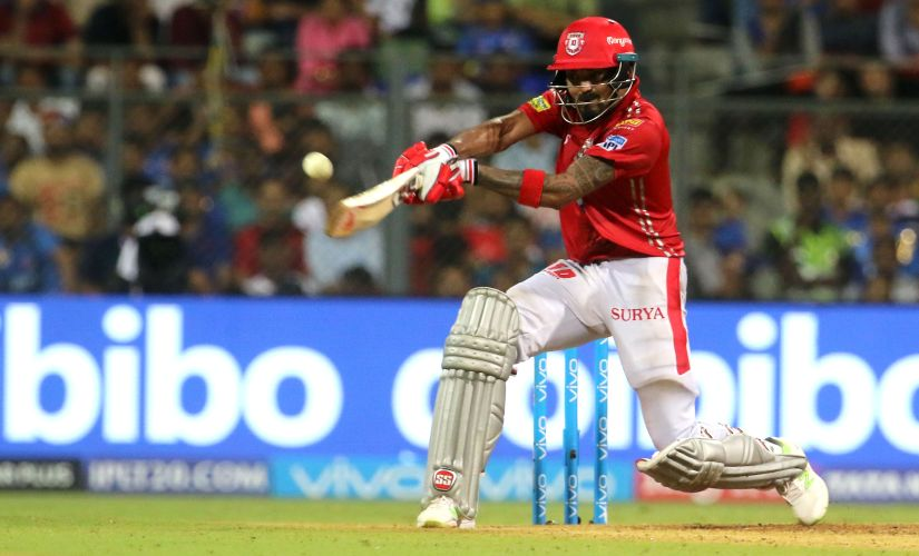 KL Rahul scoring a boundary with a switch hit during Kings XI Punjab's match against Mumbai Indians. Image Courtesy: SportsPicz