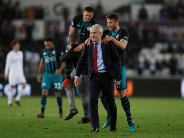Southamptons Premier League spot not safe yet says manager Mark Hughes after crucial win over Swansea