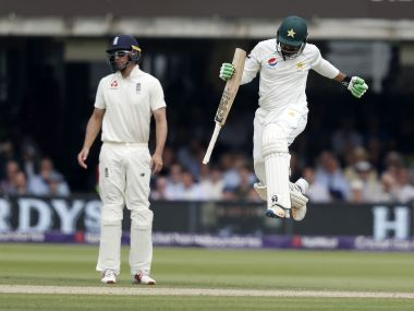 Pakistan's Haris Sohail (R) jumps after hitting the winning runs in Lord's Test against England. AFP