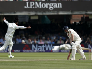 Mohammad Amr celebrates the wicket of Dominic Bess as Pakistan clinch the Lord's Test by nine wickets. AFP