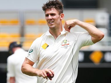 Australian bowler Mitchell Marsh turns at the end of his mark, during the first cricket test match between Australia and New Zealand in Brisbane November 9, 2015. REUTERS/Patrick Hamilton Picture Supplied by Action Images - MT1ACI14165892