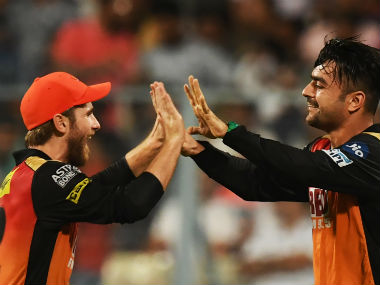 Rashid Khan celebrates a wicket with Sunrisers Hyderabad captain Kane Willianson. AFP