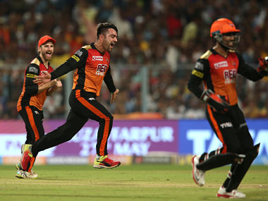 Rashid Khan of the Sunrisers Hyderabad celebrates after taking the wicket of Andre Russell of the Kolkata Knight Riders during the second Qualifier of IPL 2018. Sportzpics