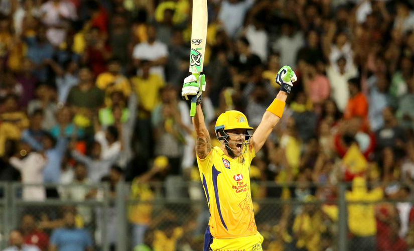 CSK's Faf du plessis celebrating hitting the winning shot against Sunrisers Hyderabad in the Qualifier 1 at Wankhede. Sportzpics