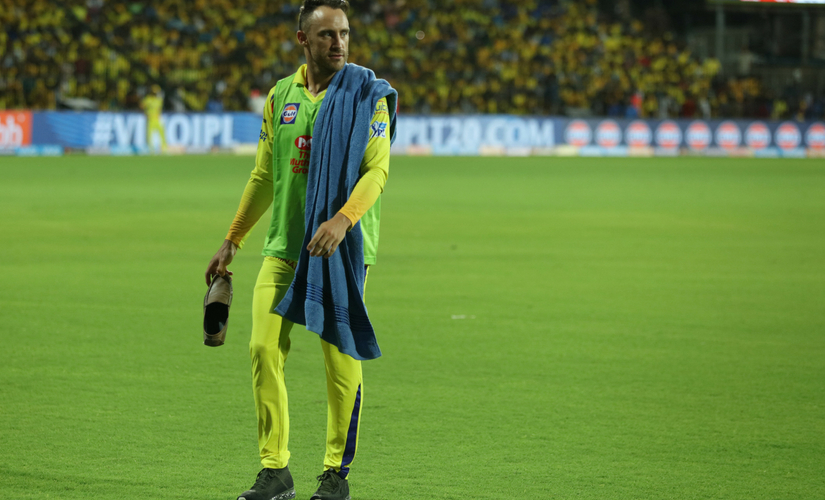 File image of Faf du Plessis holding a shoe that was hurled as a protest at the Chepauk stadium, Chennai. Sportzpics