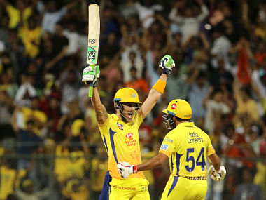 Faf du Plessis of the Chennai Superkings and Shardul Thakur of the Chennai Superkings celebrates after winning the qualifier 1 match of the Vivo Indian Premier League 2018 (IPL 2018) between the Sunrisers Hyderabad and the Chennai Super Kings held at the Wankhede Stadium in Mumbai on the 22nd May 2018. Photo by: Vipin Pawar /SPORTZPICS for BCCI