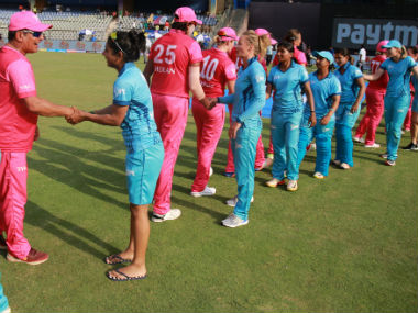 Players shake hands at the end of the match, with the Supernovas winning by three wickets. Sportzpics