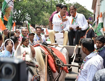 Congress members ride in horse carriages to protest against fuel hike in Goa demand GSTbased taxation of fuel
