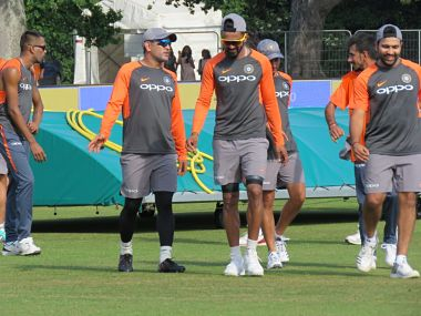 India's MS Dhoni, KL Rahul and Rohit Sharma train ahead of the 1st T20I against Ireland. Image courtesy: Twitter @BCCI
